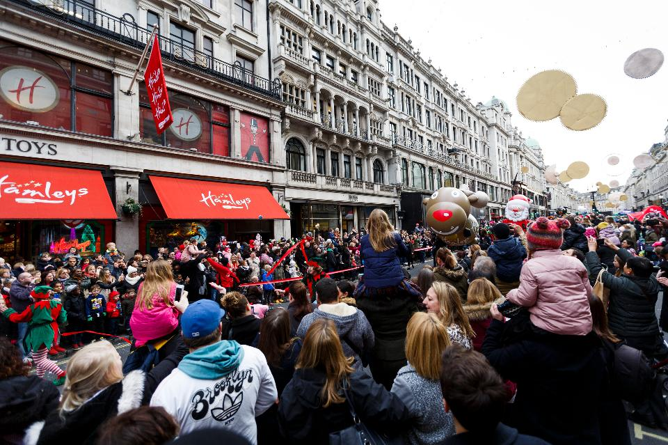 A general view of the annual Hamleys Christmas parade at Regent Street on Nov. 28 in London. (Tristan Fewings/Getty Images)