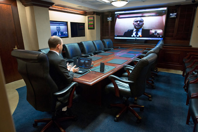 Rhodes during a video conference in the White House Situation Room. Credit Doug Mills/The New York Times